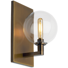 Gambit Single Wall Single Clear Aged Brass no lamp