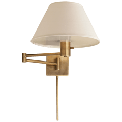Classic Swing Arm Wall Lamp in Hand-Rubbed Antique Brass with Linen Shade