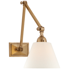 Jane Double Library Wall Light in Hand-Rubbed Antique Brass with Linen Shade