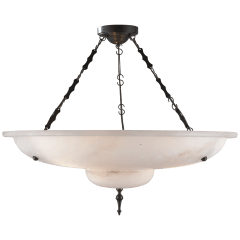Charles Chandelier in Alabaster and Bronze