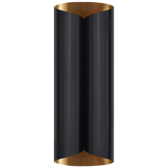 Selfoss Large Sconce in Black and Hand-Rubbed Antique Brass