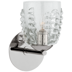 Gisela Single Sconce in Polished Nickel with Seeded Glass