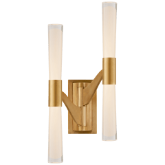 Brenta Large Double Articulating Sconce in Hand-Rubbed Antique Brass with Clear Glass
