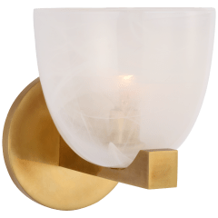 Carola Single Sconce in Hand-Rubbed Antique Brass with White Strie Glass