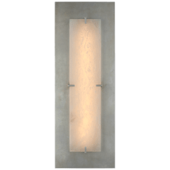 Dominica Large Rectangle Sconce in Burnished Silver Leaf and Alabaster