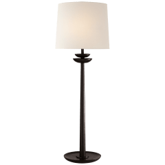 Beaumont Medium Buffet Lamp in Aged Iron with Linen Shade