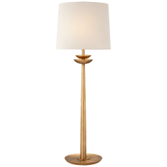 Beaumont Medium Buffet Lamp in Gild with Linen Shade