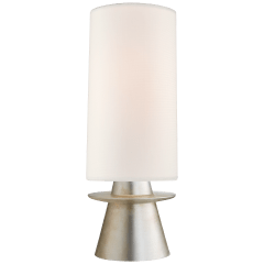 Livia Small Table Lamp in Burnished Silver Leaf with Linen Shade