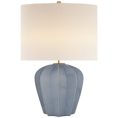 Pierrepont Medium Table Lamp in Polar Blue Crackle with Linen Shade