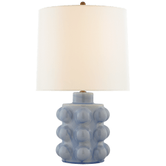 Vedra Medium Table Lamp in Polar Blue Crackle with Linen Shade