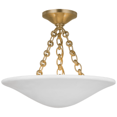 """Mollino 16"""" Semi Flush Mount in Hand-Rubbed Antique Brass with Plaster White Shade"""