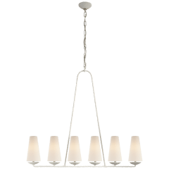 Fontaine Linear Chandelier in Plaster with Linen Shades