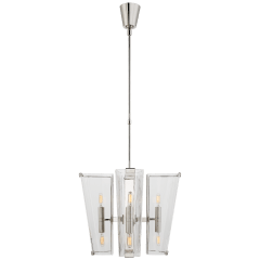 Alpine Small Chandelier in Polished Nickel with Clear Glass