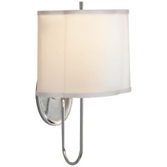 Simple Scallop Wall Sconce in Soft Silver with Silk Shade