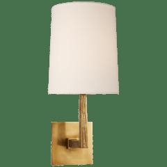 Ojai Medium Single Sconce in Soft Brass with Linen Shade
