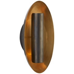 Aura Medium Oval Sconce in Bronze with Soft Brass Interior