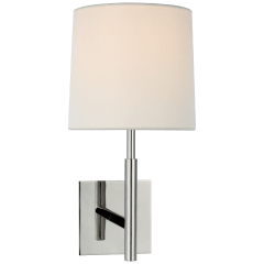 Clarion Medium Library Sconce in Polished Nickel with Linen Shade