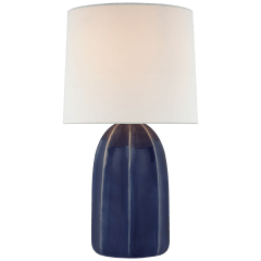 Melanie Large Table Lamp in Frosted Medium Blue with Linen Shade