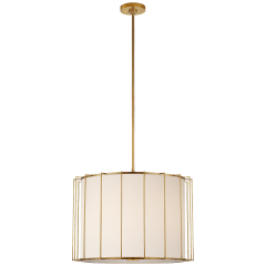 Carousel Large Drum Lantern in Soft Brass with Linen Shade