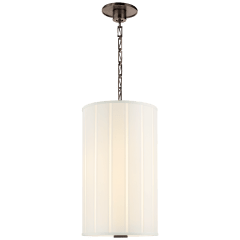 Perfect Pleat Tall Hanging Shade in Bronze with Silk Pleated Shade