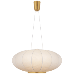 Paper Moon Large Hanging Shade in Soft Brass with Rice Paper Shade