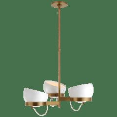 Lightwell Medium Triple Chandelier in Soft Brass with White Shades