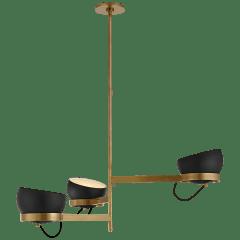 Lightwell Grande Triple Chandelier in Soft Brass with Black Shades