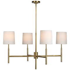 Clarion Large Chandelier in Soft Brass with Linen Shades