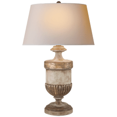 Chunky Classic Urn Form Table Lamp in Weathered White and Gold with Natural Paper Shade