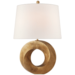 Mobius Medium Table Lamp in Gilded Iron with Linen Shade