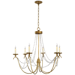 Marigot Medium Chandelier in Antique-Burnished Brass with Seeded Glass Trim