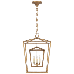 Darlana Medium Double Cage Lantern in Gilded Iron