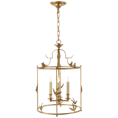 Diego Grande Classical Perching Bird Lantern in Gilded Iron
