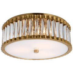 """Kean 14"""" Flush Mount in Hand-Rubbed Antique Brass with Clear Glass Rods and Frosted Glass Diffuser"""