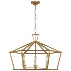 Darlana Wide Hexagonal Lantern in Antique-Burnished Brass