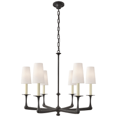 Gabriel Medium Chandelier in Aged Iron with Linen Shades
