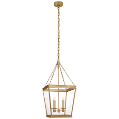 Launceton Medium Square Lantern in Antique- Burnished Brass with Clear Glass