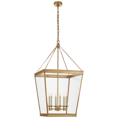 Launceton Large Square Lantern in Antique-Burnished Brass with Clear Glass