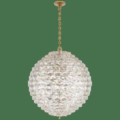 Karina Grande Sphere Chandelier in Antique-Burnished Brass and Crystal