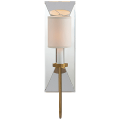 Cotswold Narrow Mirrored Sconce in Antique-Burnished Brass with Natural Paper Shade
