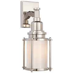 Stanway Sconce in Polished Nickel with White Glass