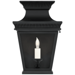 Elsinore Small 3/4 Wall Lantern in Black with Clear Glass