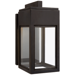 Irvine Small Bracketed Wall Lantern in Bronze with Clear Glass
