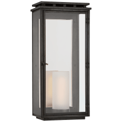 Cheshire Large 3/4 Wall Lantern in Aged Iron with Clear Glass