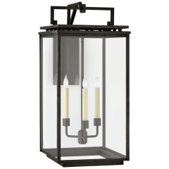 Cheshire Large Bracketed Wall Lantern in Aged Iron with Clear Glass
