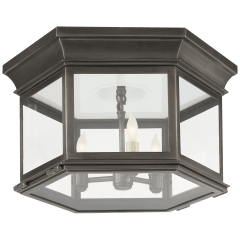 Club Large Hexagonal Flush Mount in Bronze with Clear Glass