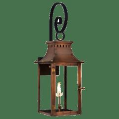 """Market Street 16"""" Top Scroll Wall Lantern in Antique Copper, Gas"""