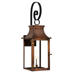 """Market Street 19"""" Top Scroll Wall Lantern in Antique Copper, Gas"""