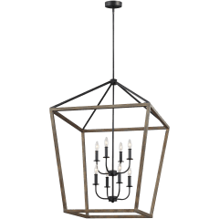 Gannet Extra Large Chandelier Weathered Oak Wood / Antique Forged Iron