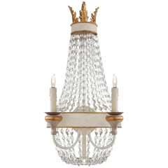 Entellina Sconce in Vintage White and Gild with Crystal
